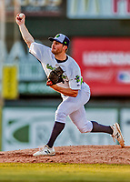 29 July 2018: Vermont Lake Monsters pitcher Brandon Withers on the mound to close out the game against the Batavia Muckdogs at Centennial Field in Burlington, Vermont. The Lake Monsters defeated the Muck Dogs 4-1 in NY Penn League action. Mandatory Credit: Ed Wolfstein Photo *** RAW (NEF) Image File Available ***