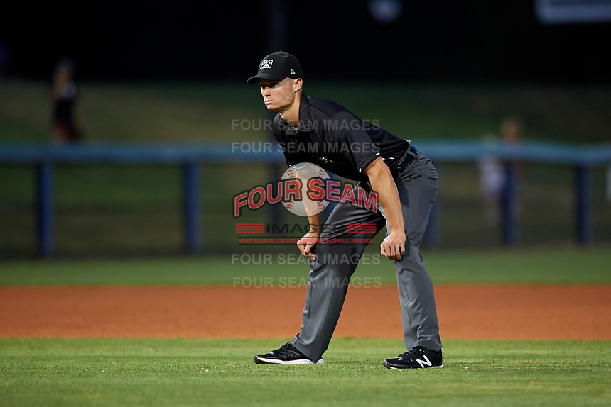 Umpire Tyler Wilson during a game between the Palm Beach Cardinals and the Charlotte Stone Crabs on April 20, 2018 at Charlotte Sports Park in Port Charlotte, Florida.  Charlotte defeated Palm Beach 4-3.  (Mike Janes/Four Seam Images)