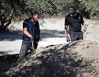 FAO JANET TOMLINSON, DAILY MAIL PICTURE DESK<br />Pictured: Special forensics police officers search a field in Kos, Greece. Sunday 02 October 2016<br />Re: Police teams led by South Yorkshire Police, searching for missing toddler Ben Needham on the Greek island of Kos have moved to a new area in the field they are searching.<br />Ben, from Sheffield, was 21 months old when he disappeared on 24 July 1991 during a family holiday.<br />Digging has begun at a new site after a fresh line of inquiry suggested he could have been crushed by a digger.
