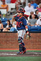 Danville Braves catcher Ricardo Rodriguez (49) during a game against the Johnson City Cardinals on July 28, 2018 at TVA Credit Union Ballpark in Johnson City, Tennessee.  Danville defeated Johnson City 7-4.  (Mike Janes/Four Seam Images)