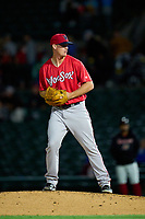 Worcester Red Sox pitcher Austin Brice (25) during a game against the Rochester Red Wings on September 3, 2021 at Frontier Field in Rochester, New York.  (Mike Janes/Four Seam Images)