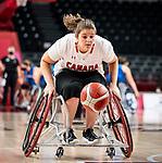 Sandrine Berube, Tokyo 2020 - Wheelchair Basketball // Basketball en fauteuil roulant.<br /> Canada takes on the USA in the wheelchair basketball quarterfinal // Le Canada affronte les États-Unis en quart de finale de basketball en fauteuil roulant. 31/08/2021.
