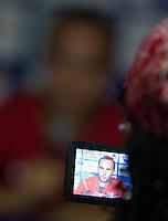 United States Men's player Landon Donovan addresses the media before the team's practice at Estadio Mateo Flores in Guatemala City, Guatemala on Mon. June 11, 2012.