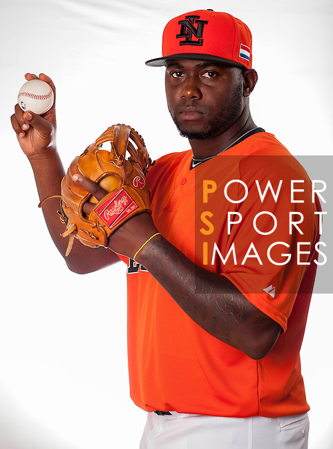 Shairon Martis of Team Netherlands poses during WBC Photo Day at the Taichung International Baseball Stadium on February 26, 2013 in Taichung, Taiwan. Photo by Victor Fraile / The Power of Sport Images