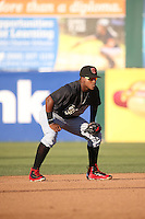 Domingo Leyba (2) of the Visalia Rawhide in the field during a game against the Lancaster JetHawks at The Hanger on July 6, 2016 in Lancaster, California. Lancaster defeated Visalia, 10-7. (Larry Goren/Four Seam Images)