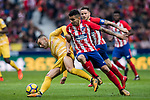 Angel Correa (R) of Atletico de Madrid competes for the ball with Borja Garcia Freire of Girona FC during the La Liga 2017-18 match between Atletico de Madrid and Girona FC at Wanda Metropolitano on 20 January 2018 in Madrid, Spain. Photo by Diego Gonzalez / Power Sport Images