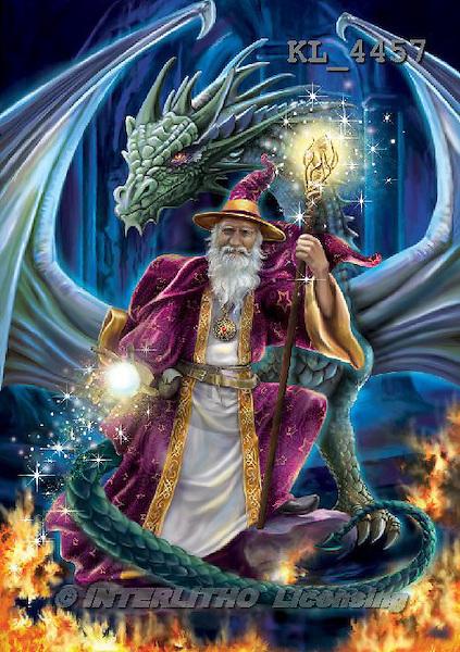 Interlitho, fantasy,wizard,dragon,fire, paintings+++++,KL4457,#n# ,Simonetta