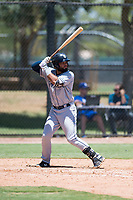AZL Padres 2 left fielder Blinger Perez (14) at bat during an Arizona League game against the AZL Dodgers at Camelback Ranch on July 4, 2018 in Glendale, Arizona. The AZL Dodgers defeated the AZL Padres 2 9-8. (Zachary Lucy/Four Seam Images)
