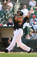 April 17th, 2008:  Infielder Randy Ruiz (13) of the Rochester Red Wings, Class-AAA affiliate of the Minnesota Twins, at bat during a game at Frontier Field in Rochester, NY.  Photo by:  Mike Janes/Four Seam Images