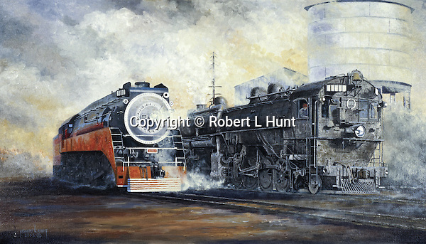 """Southern Pacific Railroad's beautiful Daylight Express comes past an ugly working cab forward oil burning locomotive. Oil on canvas, 18"""" x 27""""."""