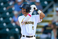 Bradenton Marauders Endy Rodriguez (5) bats during Game Two of the Low-A Southeast Championship Series against the Tampa Tarpons on September 22, 2021 at LECOM Park in Bradenton, Florida.  (Mike Janes/Four Seam Images)