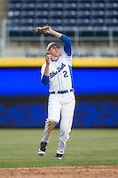 Duke Blue Devils shortstop Zack Kone (2) catches a pop fly during the game against the California Golden Bears at Durham Bulls Athletic Park on February 20, 2016 in Durham, North Carolina.  The Blue Devils defeated the Golden Bears 6-5 in 10 innings.  (Brian Westerholt/Four Seam Images)