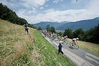 peloton (with yellow jersey Chris Froome) up the opening climb directly after the start; the Collet de Tamié (8.1km @7%)<br /> <br /> Stage 19:  Albertville › Saint-Gervais /Mont Blanc (146km)<br /> 103rd Tour de France 2016