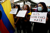 BOGOTA, COLOMBIA - MAY 28: Women shout slogans asking about missing people during a national strike on May 28, 2021 in Bogota, Colombia. (Photo by Leonardo Munoz/VIEWpress)