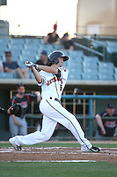 Keach Ballard (16) of the Lancaster JetHawks bats against the Lake Elsinore Storm at The Hanger on August 2, 2016 in Lancaster, California. Lake Elsinore defeated Lancaster, 10-9. (Larry Goren/Four Seam Images)