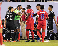 CHICAGO, IL - JULY 7: Jozy Altidore #17 argues with referee Mario Escobar about a play during a game between Mexico and USMNT at Soldiers Field on July 7, 2019 in Chicago, Illinois.