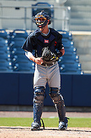 Minnesota Twins minor league catcher Kelly Cross during an Instructional League game vs. the Tampa Bay Rays at Charlotte Sports Park in Port Charlotte, Florida;  October 5, 2010.  Photo By Mike Janes/Four Seam Images