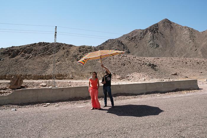 "Shooting of the series ""Li a'la Se'er"" (""the highest price"") Egypt, April 2017 (El Adl Group). The Egyptian star Nelly Karim, before starting her scene.<br /> <br /> Tournage de la série ""Li A'la Se'er"" (""Au prix fort""), Egypte, Sinaï, Avril 2017 (El Adl group). La star Égyptienne Nelly Karim, en attente du clap de top départ."