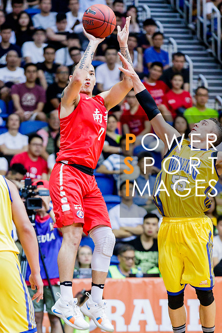 Glen Tang Robertson #00 of SCAA Men's Basketball Team tries to score against the Winling during the Hong Kong Basketball League game between SCAA vs Winling at Southorn Stadium on June 19, 2018 in Hong Kong. Photo by Yu Chun Christopher Wong / Power Sport Images