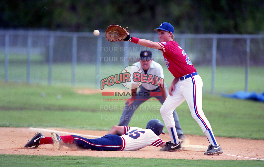 First baseman Doug Blosser playing for the Sarasota All-Stars during the 1992 season.  Blosser was drafted in the third round of the 1995 MLB Draft, he was killed in a car accident in January of 1998 after playing for the Spokane Indians and Lansing Lugnuts in 1997.  (MJA/Four Seam Images)