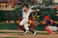 Burlington Bees Jared Foster (11) swings during the Midwest League game against the Peoria Chiefs at Community Field on June 9, 2016 in Burlington, Iowa.  Peoria won 6-4.  (Dennis Hubbard/Four Seam Images)