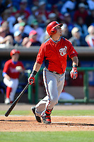 Washington Nationals third baseman Matt Skole #26 during a Spring Training game against the Philadelphia Phillies at Bright House Field on March 6, 2013 in Clearwater, Florida.  Philadelphia defeated Washington 6-3.  (Mike Janes/Four Seam Images)