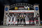 #5 Mustang Sampling / JDC-Miller MotorSports Cadillac DPi, DPi: Tristan Vautier, Loic Duval, Sebastien Bourdais <br /> Victory Lane, Winners<br /> #55: Mazda Motorsports Mazda DPi, DPi: Jonathan Bomarito, Harry Tincknell, Oliver Jarvis<br /> #60: Meyer Shank Racing w/Curb-Agajanian Acura DPi, DPi: Olivier Pla, Dane Cameron, Juan Pablo Montoya