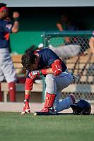 Lowell Spinners Jaxx Groshans (12) before a NY-Penn League game against the Batavia Muckdogs on July 10, 2019 at Dwyer Stadium in Batavia, New York.  Batavia defeated Lowell 8-6.  (Mike Janes/Four Seam Images)