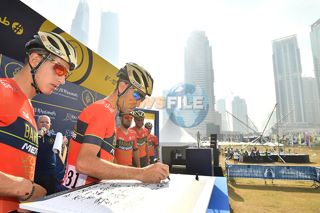 Vincenzo Nibali (ITA) and Bahrain-Merida team at sign on before the start of Stage 2 The  Ras Al Khaimah Stage of the Dubai Tour 2018 the Dubai Tour's 5th edition, running 190km from Skydive Dubai to Ras Al Khaimah, Dubai, United Arab Emirates. 7th February 2018.<br /> Picture: LaPresse/Massimo Paolone   Cyclefile<br /> <br /> <br /> All photos usage must carry mandatory copyright credit (© Cyclefile   LaPresse/Massimo Paolone)