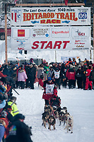 Paul Gebhardt team leaves the start line during the restart day of Iditarod 2009 in Willow, Alaska