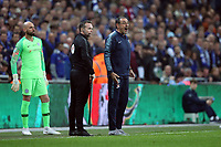 Willy Caballero of Chelsea looks on as Chelsea Manager Maurizio Sarri reacts as Kepa Arrizabalaga of Chelsea refuses to be substituted during the Carabao Cup Final match between Chelsea and Manchester City at Stamford Bridge on February 24th 2019 in London, England. (Photo by Paul Chesterton/phcimages.com)<br /> Foto PHC Images / Insidefoto <br /> ITALY ONLY