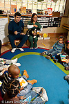 Education preschool 3-4 year olds circle time visitors from dental school outreach program talking to children about upcoming dental examination vertical