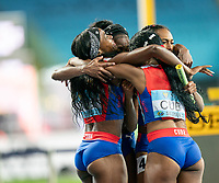 2nd May 2021; Silesian Stadium, Chorzow, Poland; World Athletics Relays 2021. Day 2; Cuban women celebrate their 4 x 400 victory