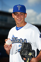 Tulsa Drillers pitcher Jose De Leon (2) poses for a photo before a game against the Midland RockHounds on June 2, 2015 at Oneok Field in Tulsa, Oklahoma.  Midland defeated Tulsa 6-5.  (Mike Janes/Four Seam Images)