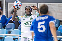SAN JOSE, CA - MAY 15: Yimmi Chara #23 of the Portland Timbers prepares for a throw in during a game between San Jose Earthquakes and Portland Timbers at PayPal Park on May 15, 2021 in San Jose, California.