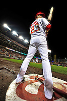 30 September 2009: Washington Nationals' catcher Wil Nieves stands on deck during a game against the New York Mets at Nationals Park in Washington, DC. The Nationals rallied in the bottom of the 9th inning on Justin Maxwell's walk-off Grand Slam to win 7-4 and sweep the Mets 3-game series capping the Nationals' 2009 home season. Mandatory Credit: Ed Wolfstein Photo