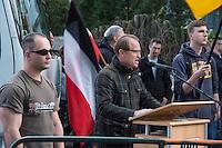 """Etwa 45 Neonazis protestierten am Freitag den 8. Mai 2015 in Berlin-Karlshorst gegen die Feierlichkeiten zum 70. Jahrestag der Befreiung Deutschlands vom Nationalsozialismus. Die Neonazis hielten unweit des Kapitulationsmuseum eine Kundgebung ab. Sie feierten in Reden die Helden der Wehrmacht und behaupteten, die Allierten haetten nach der Kapitulation ueber 1 Million Deutsche ermordet und der """"Voelkermord"""" ginge heute durch Einwanderung weiter.<br /> Im Bild: Der Rechtsanwalt Wolfram Nahrath, Verteidiger des im NSU-Prozess angeklagten Neonazi  Ralf Wohlleben. Nahrath war bis zum ihrem Verbot 1994 Anfuehrer der Neonaziorganisation Wiking Jugend, die Kinder und Jugendliche nach dem Vorbild der Hitlerjugend erzog.<br /> 8.5.2015, Berlin<br /> Copyright: Christian-Ditsch.de<br /> [Inhaltsveraendernde Manipulation des Fotos nur nach ausdruecklicher Genehmigung des Fotografen. Vereinbarungen ueber Abtretung von Persoenlichkeitsrechten/Model Release der abgebildeten Person/Personen liegen nicht vor. NO MODEL RELEASE! Nur fuer Redaktionelle Zwecke. Don't publish without copyright Christian-Ditsch.de, Veroeffentlichung nur mit Fotografennennung, sowie gegen Honorar, MwSt. und Beleg. Konto: I N G - D i B a, IBAN DE58500105175400192269, BIC INGDDEFFXXX, Kontakt: post@christian-ditsch.de<br /> Bei der Bearbeitung der Dateiinformationen darf die Urheberkennzeichnung in den EXIF- und  IPTC-Daten nicht entfernt werden, diese sind in digitalen Medien nach §95c UrhG rechtlich geschuetzt. Der Urhebervermerk wird gemaess §13 UrhG verlangt.]"""