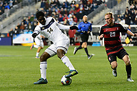 Chester, PA - Friday December 08, 2017: David Egbo The Stanford Cardinal defeated the Akron Zips 2-0 during an NCAA Men's College Cup semifinal match at Talen Energy Stadium.