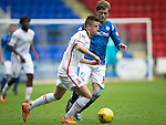 St Johnstone v Inverness Caley Thistle...08.08.15...SPFL..McDiarmid Park, Perth.<br /> Liam Polworth is closed down by Murray Davidson<br /> Picture by Graeme Hart.<br /> Copyright Perthshire Picture Agency<br /> Tel: 01738 623350  Mobile: 07990 594431