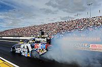 Sept. 5, 2011; Claremont, IN, USA: NHRA funny car driver Matt Hagan  during the US Nationals at Lucas Oil Raceway. Mandatory Credit: Mark J. Rebilas-