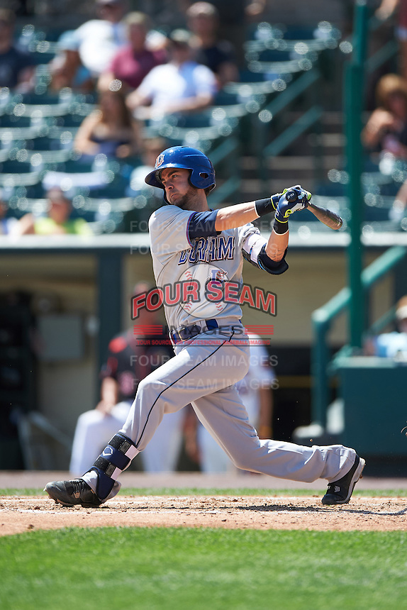 Durham Bulls second baseman Nick Franklin (19) at bat during a game against the Rochester Red Wings on July 20, 2016 at Frontier Field in Rochester, New York.  Rochester defeated Durham 6-2.  (Mike Janes/Four Seam Images)