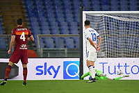 Football, Serie A: AS Roma - Atalanta Olympic stadium, Rome, April 22, 2021. <br /> Roma's Bryan Cristante (l) looks the ball entering in the nest  after kicking during the Italian Serie A football match between AS Roma and Atalanta at Rome's Olympic stadium, Rome, on April 22, 2021.  <br /> UPDATE IMAGES PRESS/Isabella Bonotto