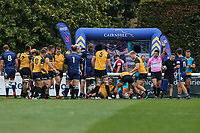 Ealing Trailfinders celebrates after they score a try during the Greene King IPA Championship match between London Scottish Football Club and Ealing Trailfinders at Richmond Athletic Ground, Richmond, United Kingdom on 8 September 2018. Photo by David Horn.