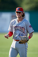 Clearwater Threshers first baseman Alec Bohm (40) warms up before a Florida State League game against the Dunedin Blue Jays on May 11, 2019 at Jack Russell Memorial Stadium in Clearwater, Florida.  Clearwater defeated Dunedin 9-3.  (Mike Janes/Four Seam Images)
