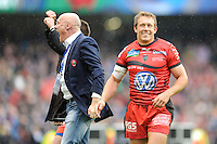 Jonny Wilkinson of RC Toulon enjoys the feeling after winning the Heineken Cup Final between ASM Clermont Auvergne and RC Toulon at the Aviva Stadium, Dublin on Saturday 18th May 2013 (Photo by Rob Munro)