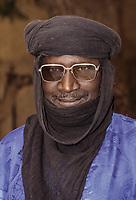 Nigerien Man with Glasses and Turban, Baleyara, Niger.