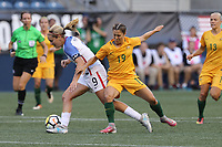 Seattle, WA - Thursday July 27, 2017: Lindsey Horan, Katrina Gorry during a 2017 Tournament of Nations match between the women's national teams of the United States (USA) and Australia (AUS) at CenturyLink Field.