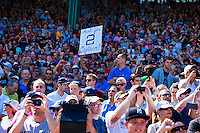 BOSTON, MASS. - SEPT. 28, 2014: Fans cheer on Derek Jeter in a pre-game ceremony before the New York Yankees and Boston Red Sox play at Fenway Park. The game is last game of Derek Jeter's career. M. Scott Brauer for The New York Times