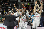 Real Madrid's Ioannis Bourousis, Facundo Campazo, K.C.Rivers, Marcus Slaughter and Felipe Reyes celebrate the victory in the Euroleague Final Match. May 15,2015. (ALTERPHOTOS/Acero)