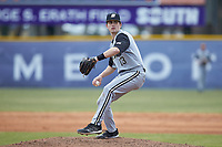 Bryant Bulldogs relief pitcher Luke Garofalo (13) in action against the High Point Panthers at Williard Stadium on February 21, 2021 in  Winston-Salem, North Carolina. The Panthers defeated the Bulldogs 3-2. (Brian Westerholt/Four Seam Images)